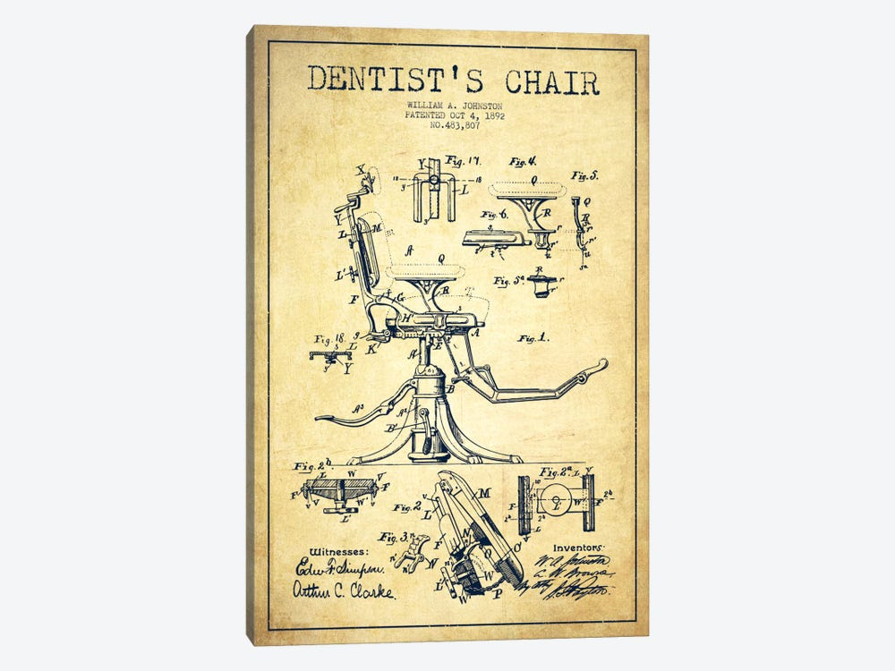 Dentist Chair Vintage Patent Blueprint by Aged Pixel 1-piece Canvas Artwork