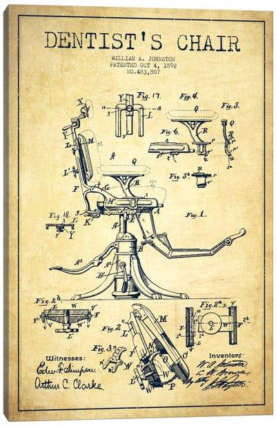 Dentist Chair Vintage Patent Blueprint Canvas Art Print
