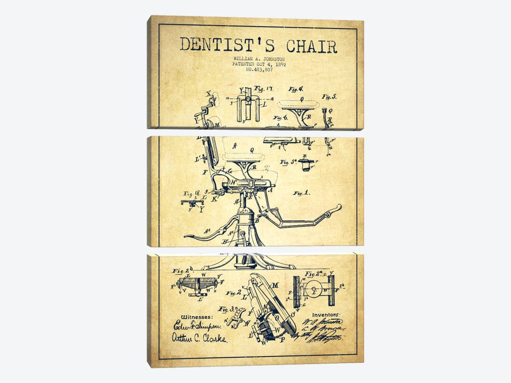 Dentist Chair Vintage Patent Blueprint by Aged Pixel 3-piece Canvas Wall Art