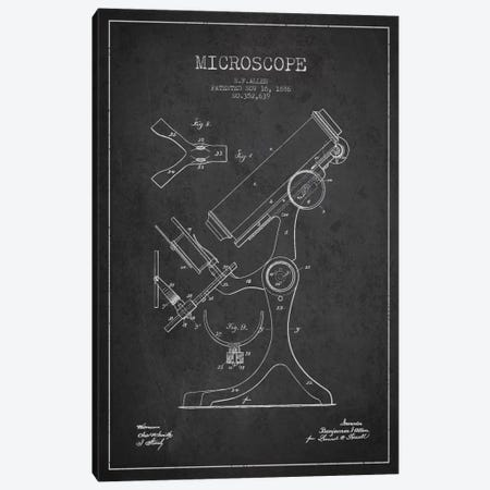 Microscope Charcoal Patent Blueprint Canvas Print #ADP1689} by Aged Pixel Canvas Artwork