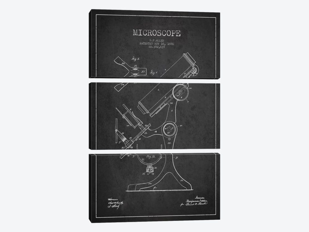 Microscope Charcoal Patent Blueprint by Aged Pixel 3-piece Canvas Print