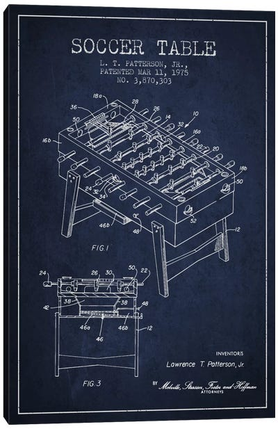 Soccer Table Navy Blue Patent Blueprint Canvas Print #ADP168