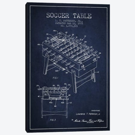 Soccer Table Navy Blue Patent Blueprint Canvas Print #ADP168} by Aged Pixel Canvas Artwork