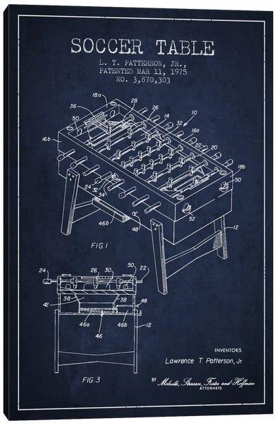 Soccer Table Navy Blue Patent Blueprint Canvas Art Print