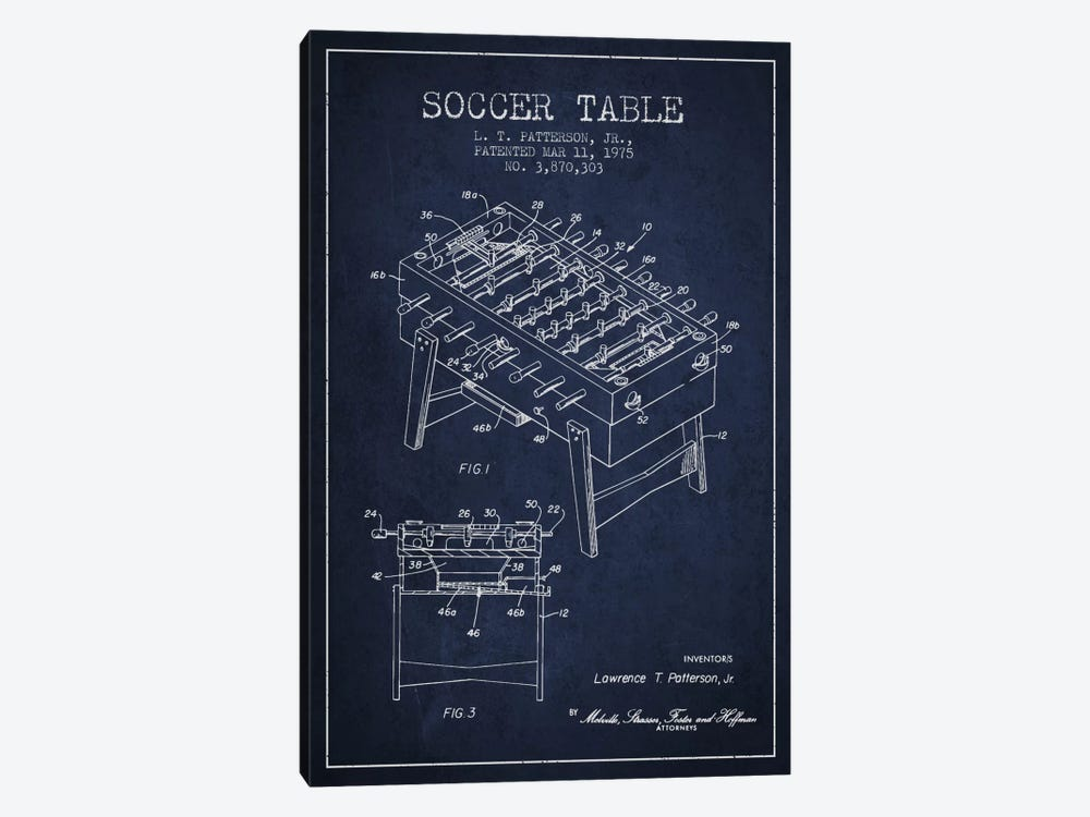 Soccer Table Navy Blue Patent Blueprint by Aged Pixel 1-piece Canvas Wall Art