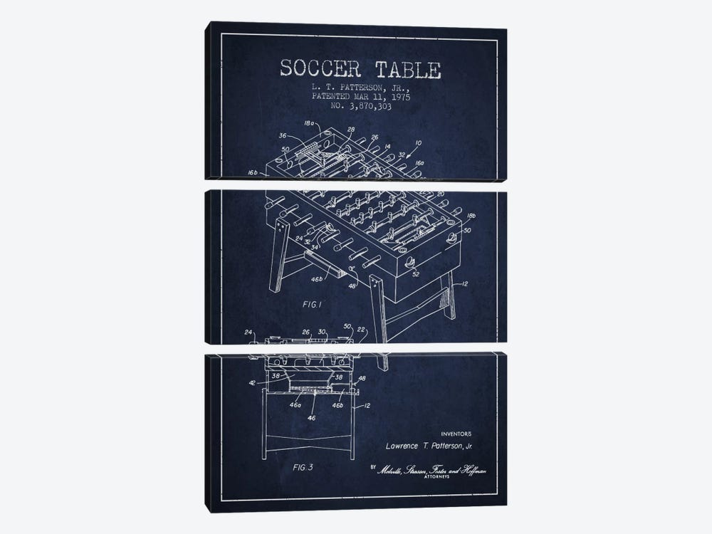 Soccer Table Navy Blue Patent Blueprint by Aged Pixel 3-piece Canvas Wall Art