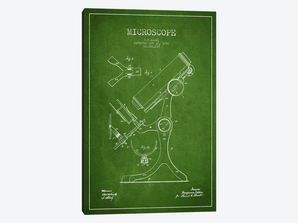 Microscope Green Patent Blueprint by Aged Pixel 1-piece Art Print