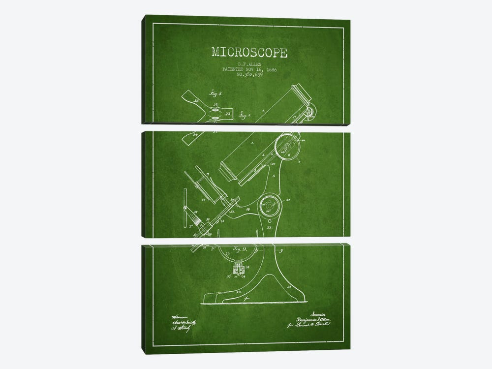 Microscope Green Patent Blueprint by Aged Pixel 3-piece Canvas Print