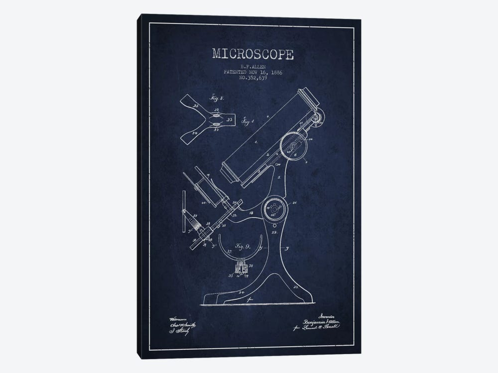 Microscope Navy Blue Patent Blueprint by Aged Pixel 1-piece Canvas Artwork