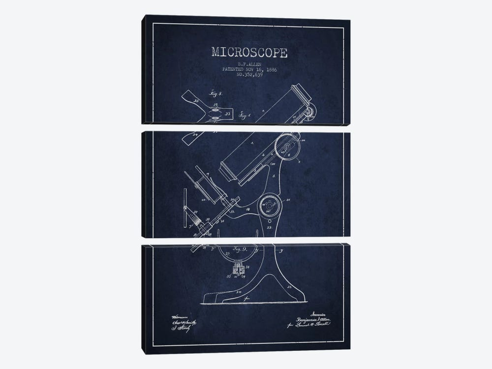 Microscope Navy Blue Patent Blueprint by Aged Pixel 3-piece Canvas Art