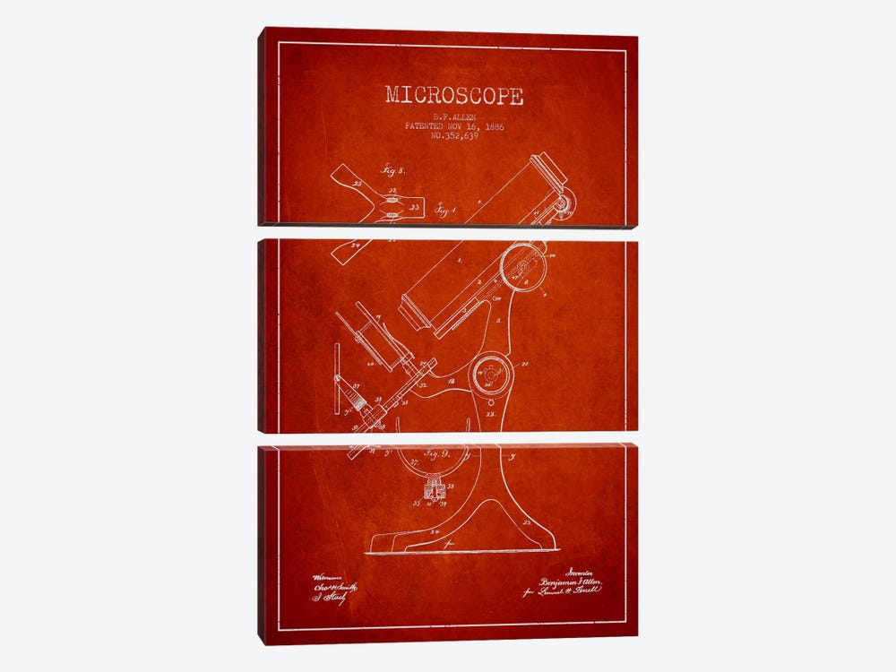 Microscope Red Patent Blueprint by Aged Pixel 3-piece Art Print