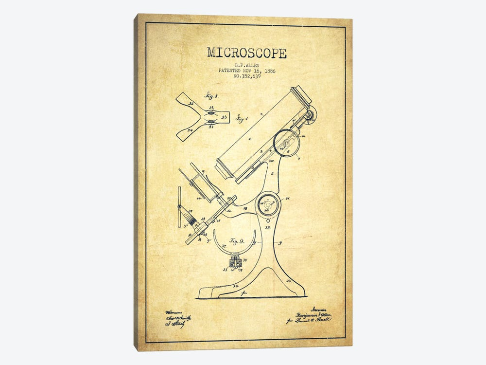 Microscope Vintage Patent Blueprint by Aged Pixel 1-piece Canvas Art