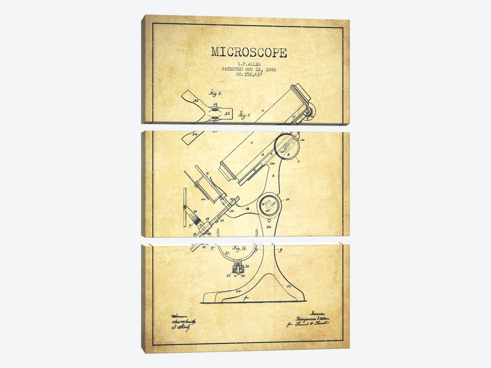Microscope Vintage Patent Blueprint by Aged Pixel 3-piece Canvas Wall Art