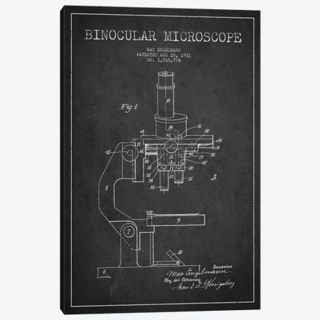 Microscope Charcoal Patent Blueprint Canvas Print #ADP1694} by Aged Pixel Canvas Art