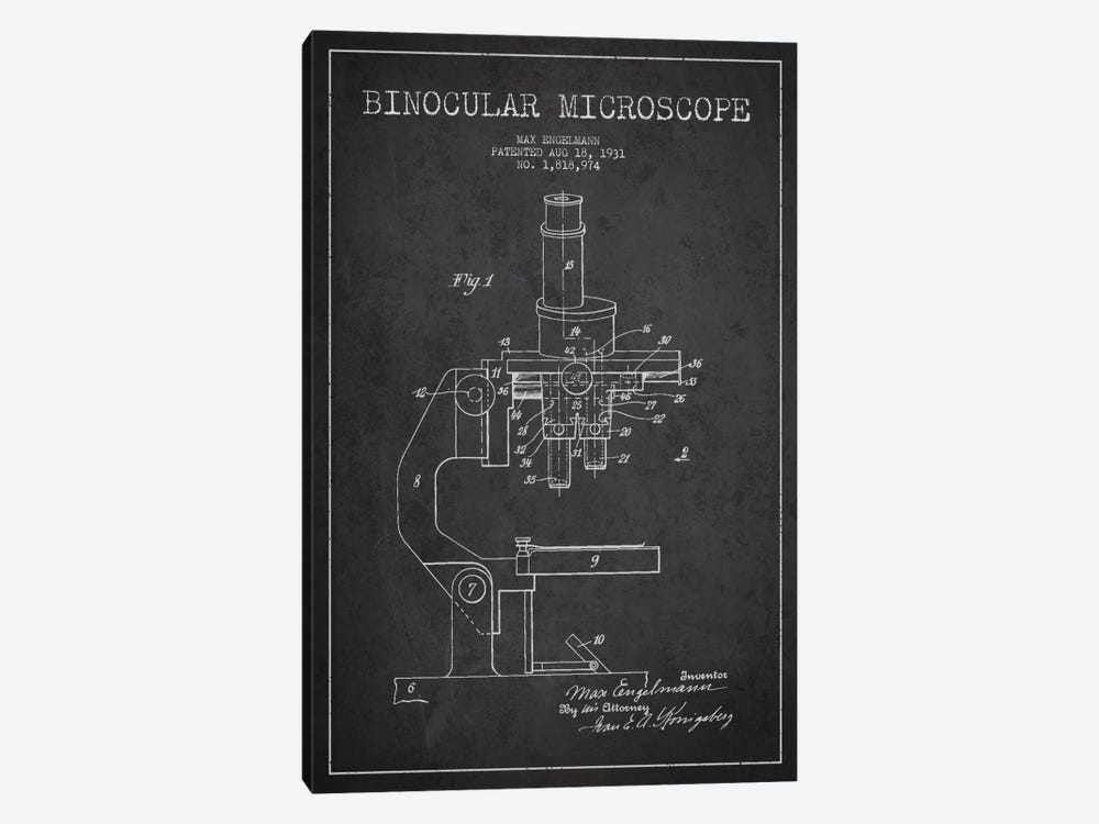 Microscope Charcoal Patent Blueprint by Aged Pixel 1-piece Canvas Art Print