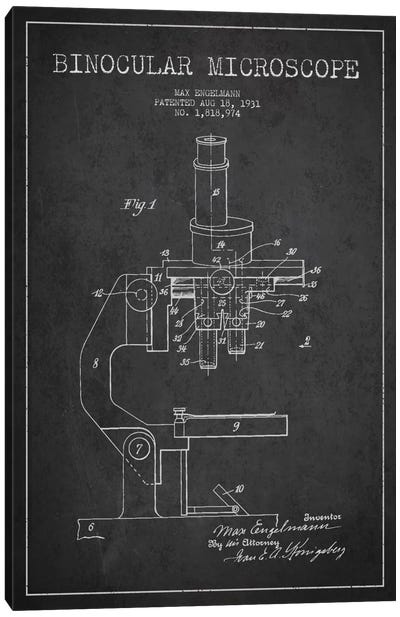 Microscope Charcoal Patent Blueprint Canvas Art Print