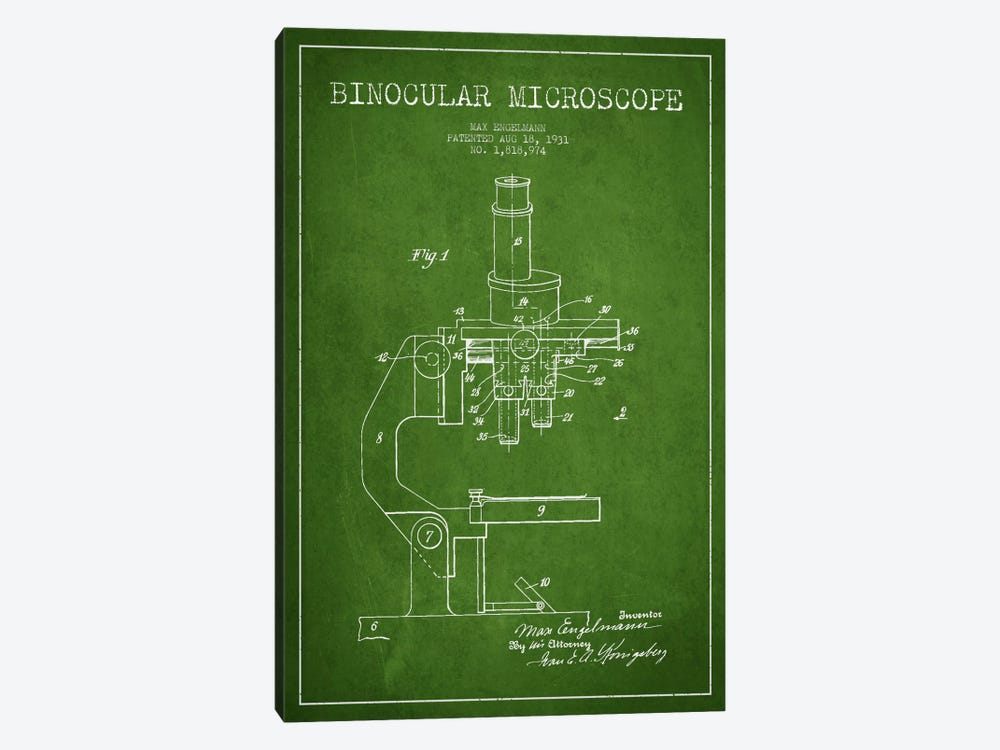Microscope Green Patent Blueprint by Aged Pixel 1-piece Canvas Artwork