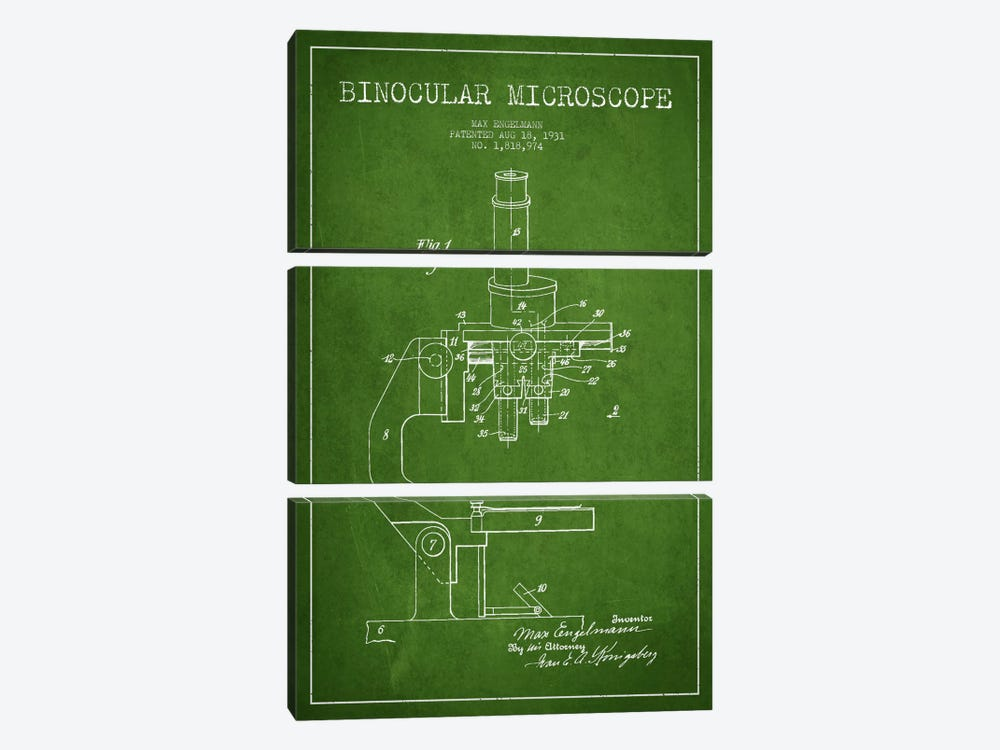 Microscope Green Patent Blueprint by Aged Pixel 3-piece Canvas Wall Art