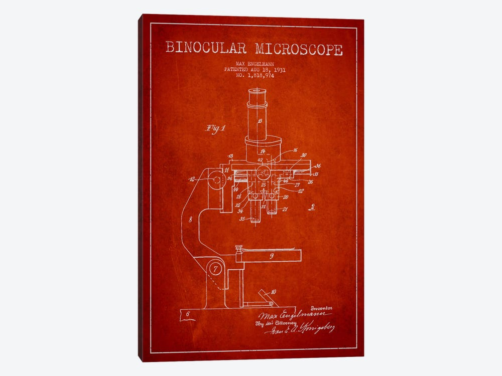 Microscope Red Patent Blueprint by Aged Pixel 1-piece Canvas Art