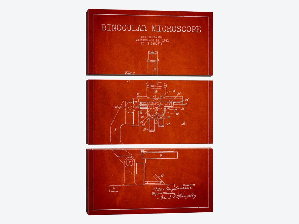 Microscope Red Patent Blueprint by Aged Pixel 3-piece Canvas Wall Art