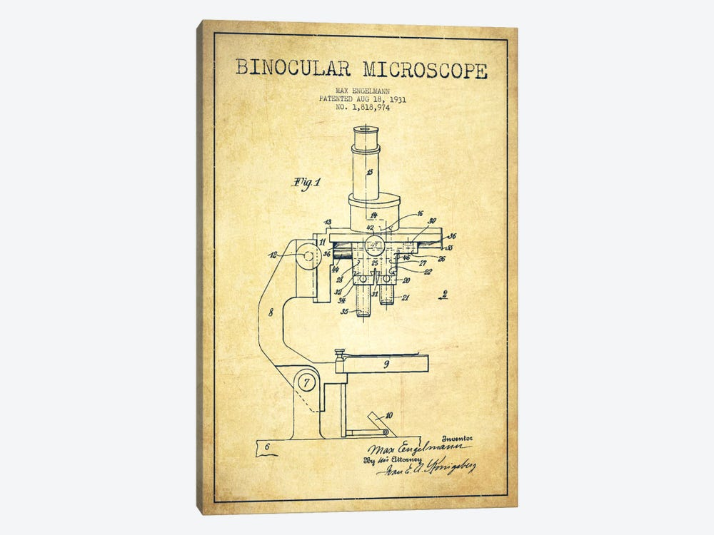 Microscope Vintage Patent Blueprint by Aged Pixel 1-piece Canvas Art Print