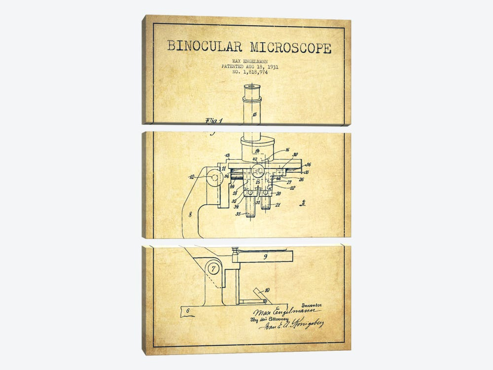Microscope Vintage Patent Blueprint by Aged Pixel 3-piece Canvas Art Print