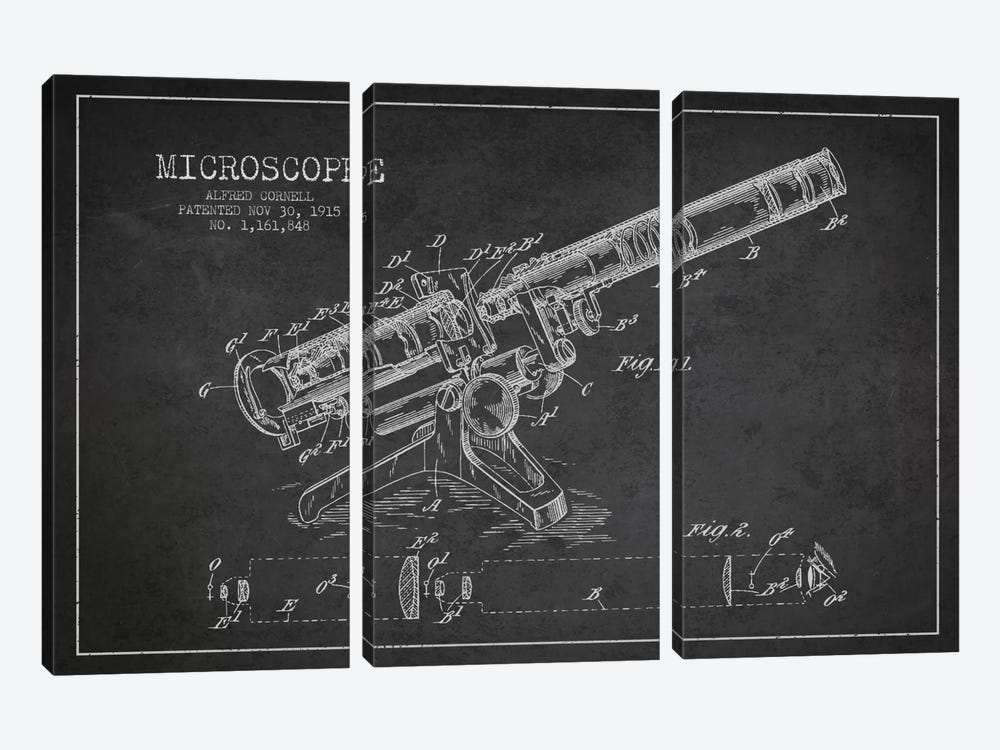 Microscope Charcoal Patent Blueprint by Aged Pixel 3-piece Canvas Artwork