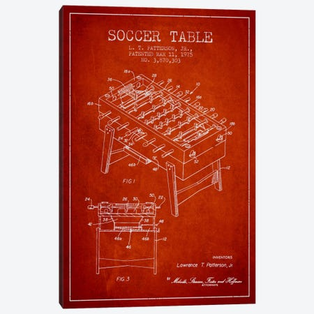 Soccer Table Red Patent Blueprint Canvas Print #ADP169} by Aged Pixel Canvas Artwork