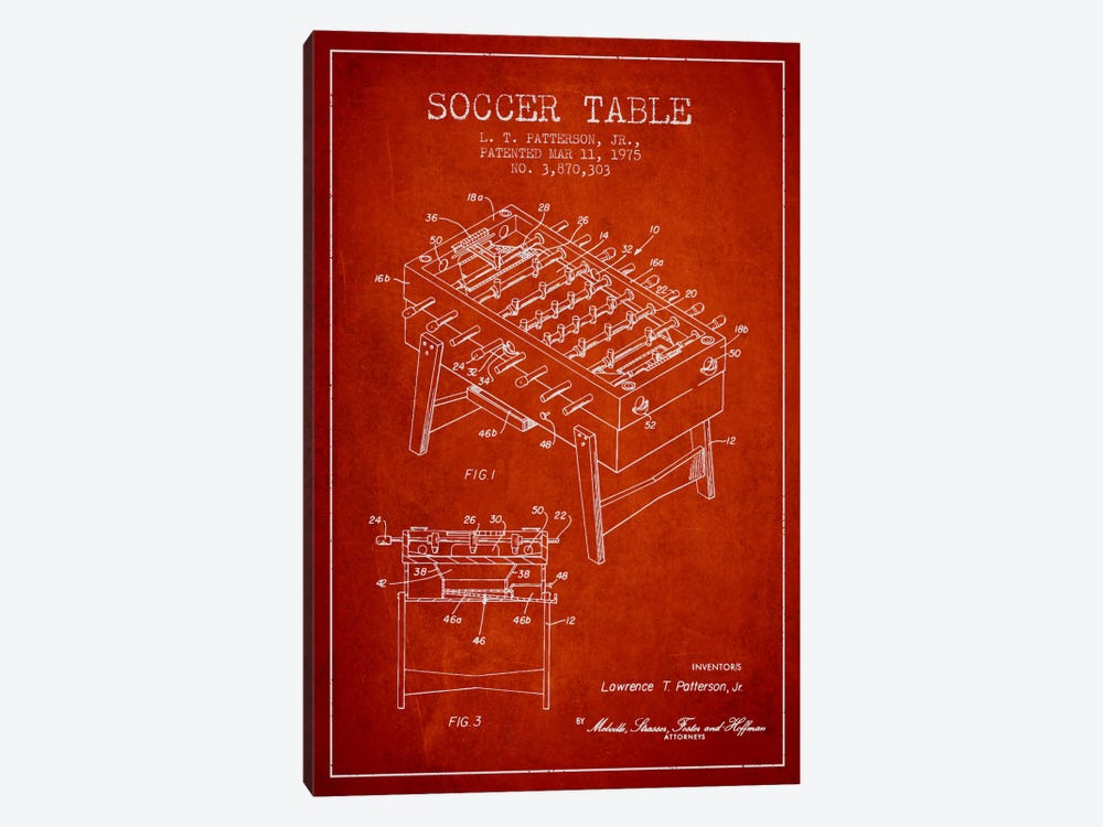 Soccer Table Red Patent Blueprint by Aged Pixel 1-piece Canvas Print