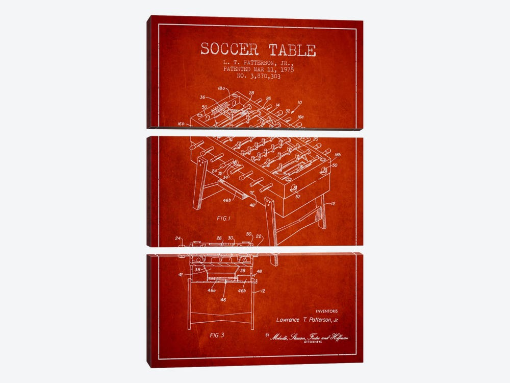 Soccer Table Red Patent Blueprint by Aged Pixel 3-piece Canvas Print