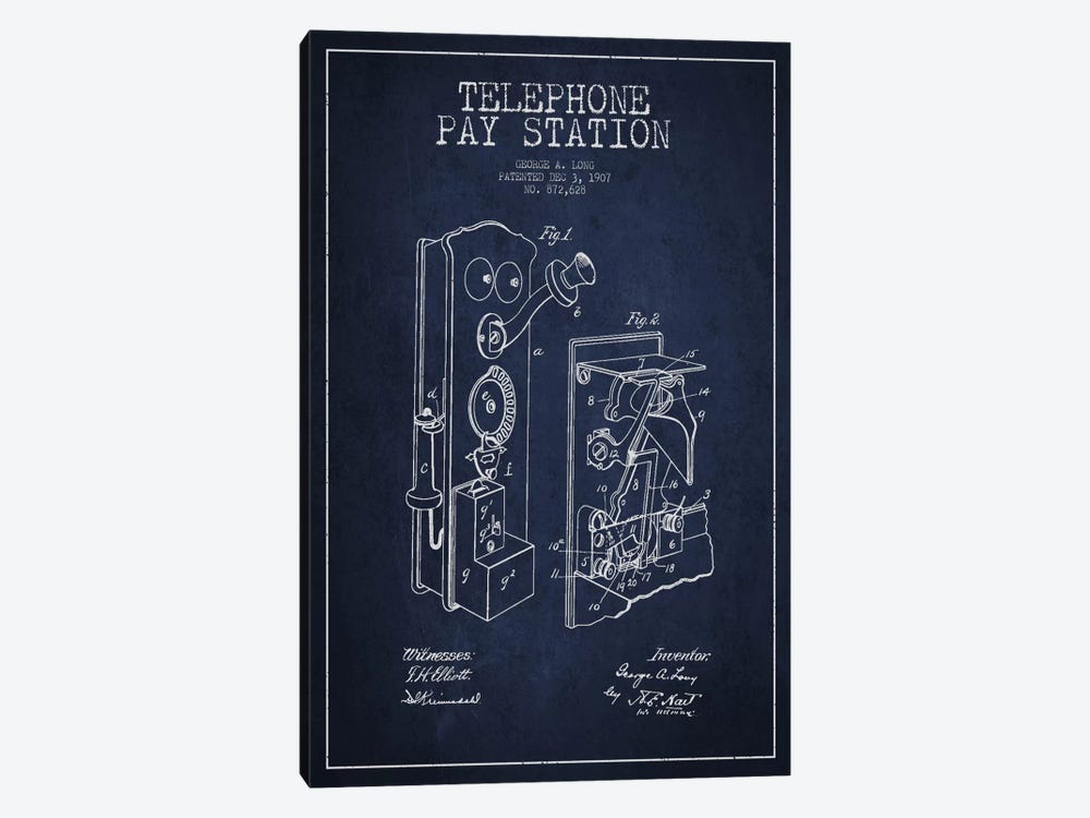 Long Telephone Blue Patent Blueprint by Aged Pixel 1-piece Canvas Artwork
