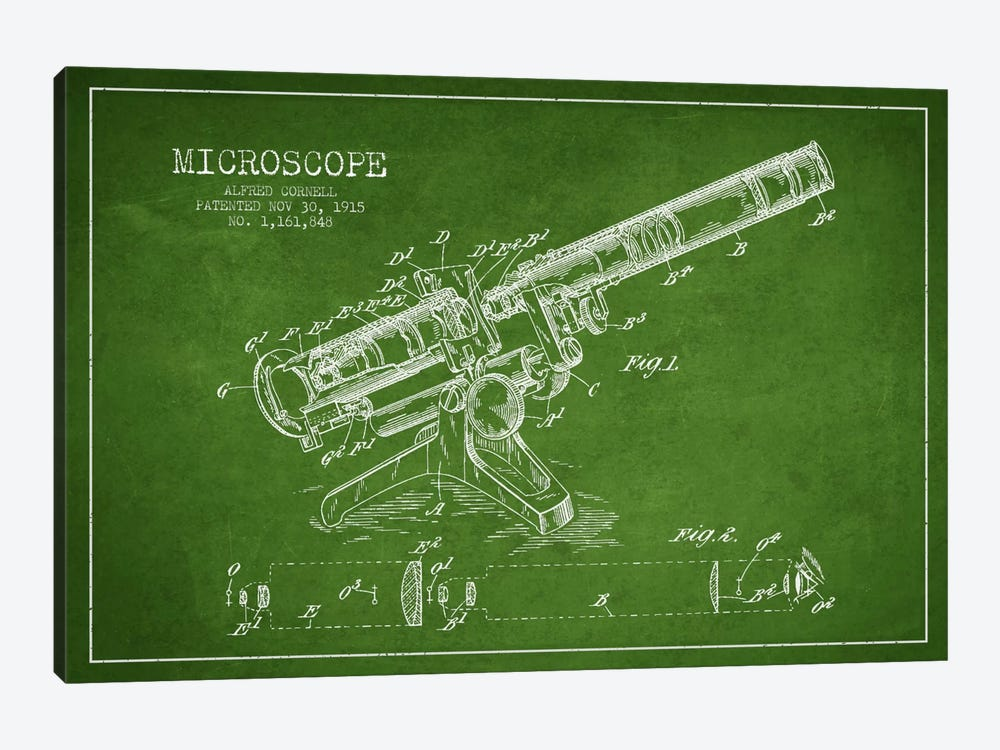 Microscope Green Patent Blueprint by Aged Pixel 1-piece Canvas Art Print