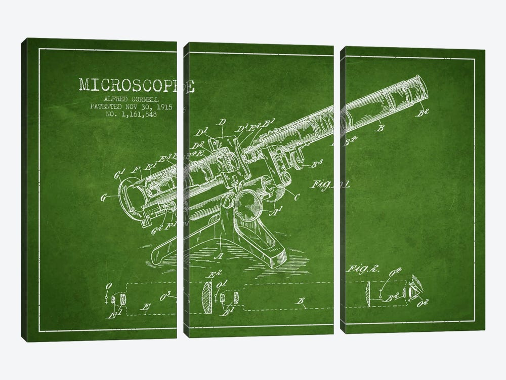 Microscope Green Patent Blueprint by Aged Pixel 3-piece Canvas Art Print