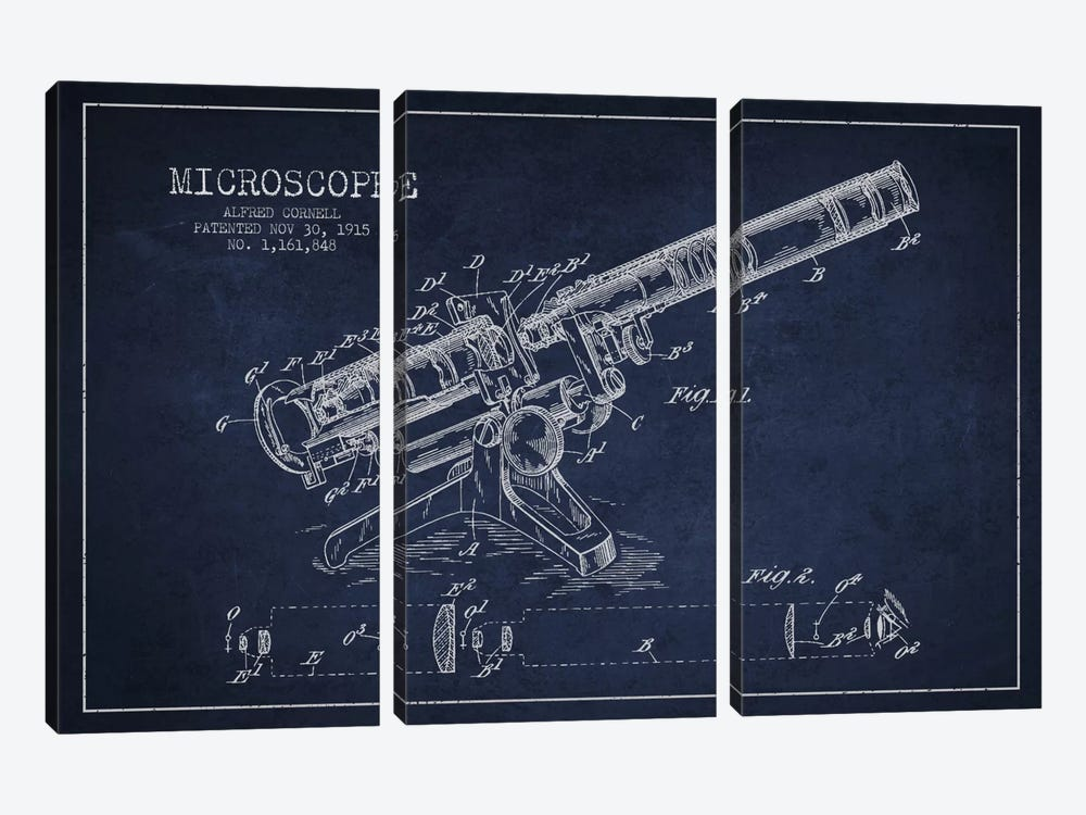 Microscope Navy Blue Patent Blueprint by Aged Pixel 3-piece Canvas Artwork