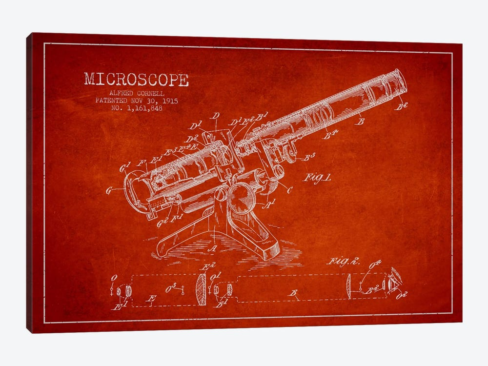 Microscope Red Patent Blueprint by Aged Pixel 1-piece Canvas Art Print