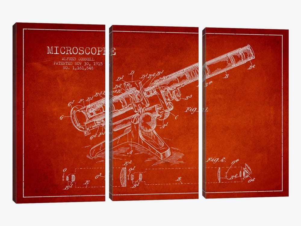 Microscope Red Patent Blueprint by Aged Pixel 3-piece Canvas Art Print