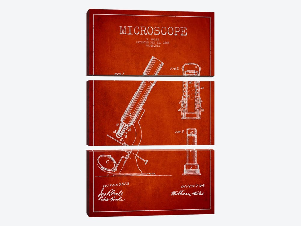 Microscope Red Patent Blueprint by Aged Pixel 3-piece Canvas Artwork