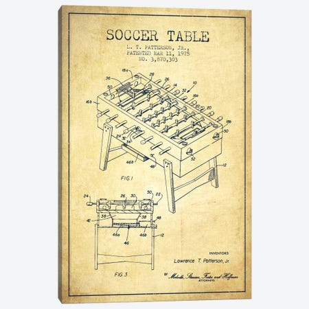 Soccer Table Vintage Patent Blueprint Canvas Print #ADP170} by Aged Pixel Canvas Art Print