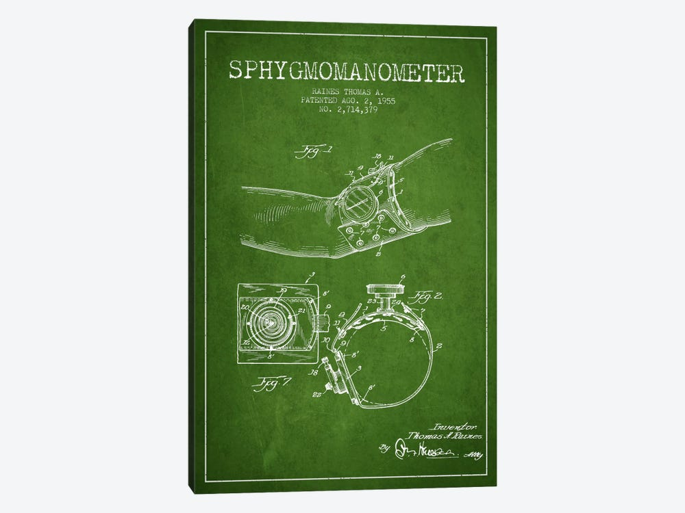 Sphygmomanometer Green Patent Blueprint by Aged Pixel 1-piece Canvas Artwork