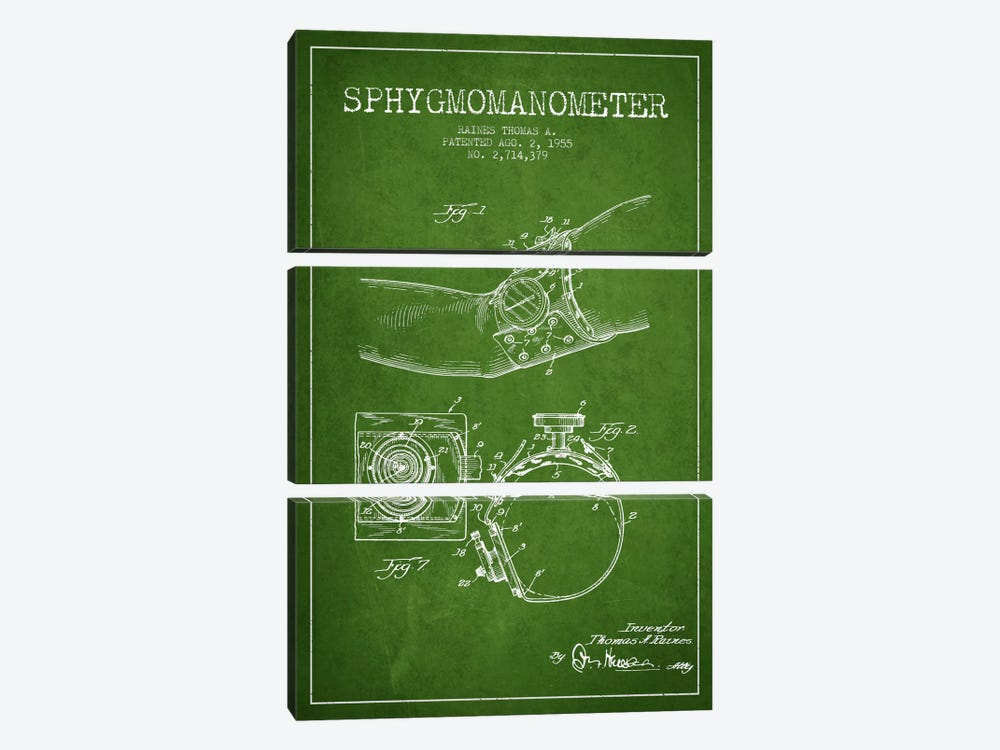 Sphygmomanometer Green Patent Blueprint by Aged Pixel 3-piece Canvas Wall Art