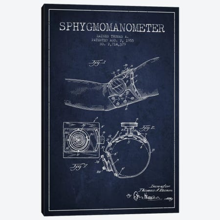 Sphygmomanometer Navy Blue Patent Blueprint Canvas Print #ADP1711} by Aged Pixel Canvas Artwork