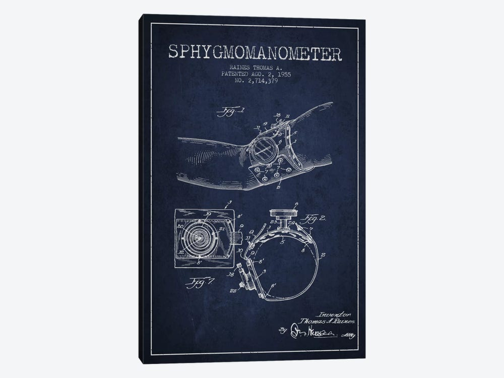 Sphygmomanometer Navy Blue Patent Blueprint by Aged Pixel 1-piece Art Print