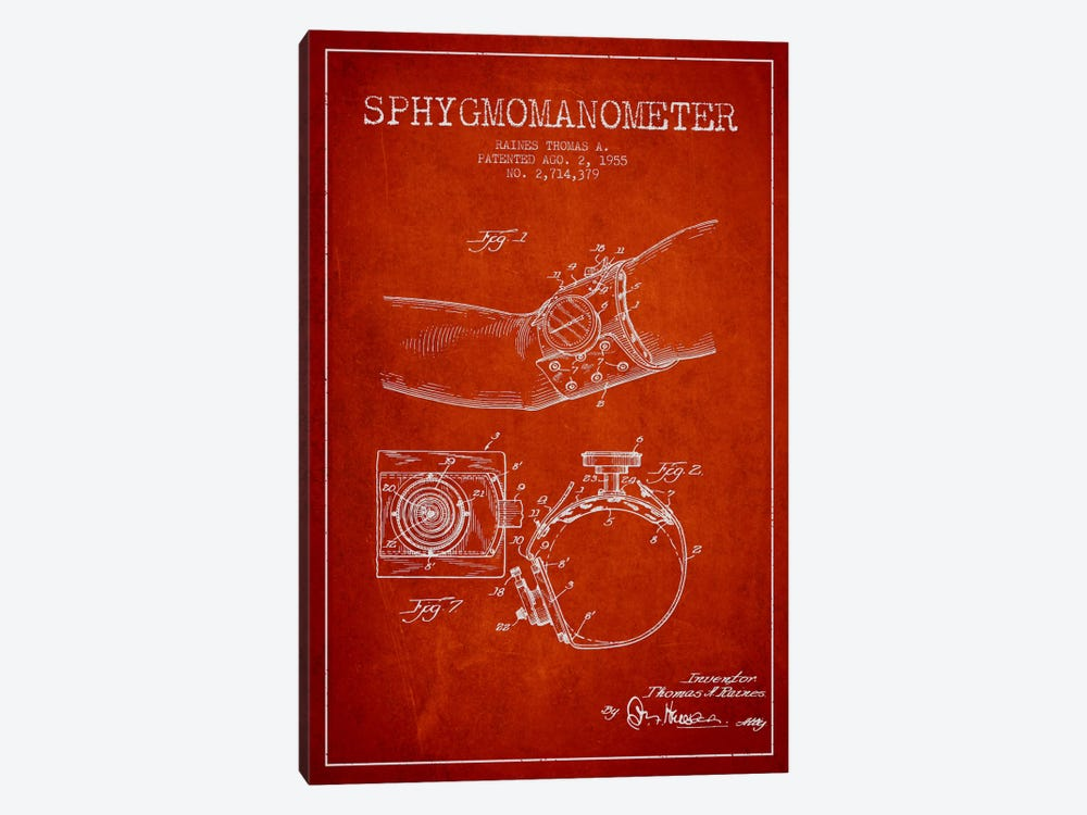 Sphygmomanometer Red Patent Blueprint by Aged Pixel 1-piece Canvas Artwork