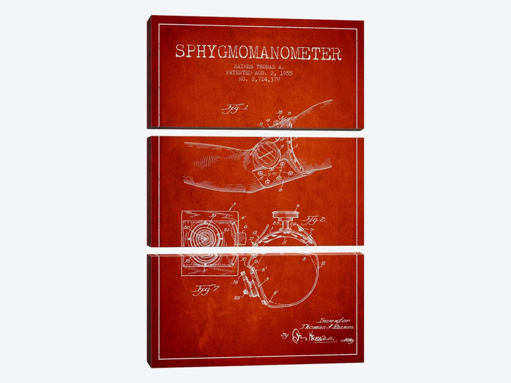 Sphygmomanometer Red Patent Blueprint by Aged Pixel 3-piece Canvas Wall Art