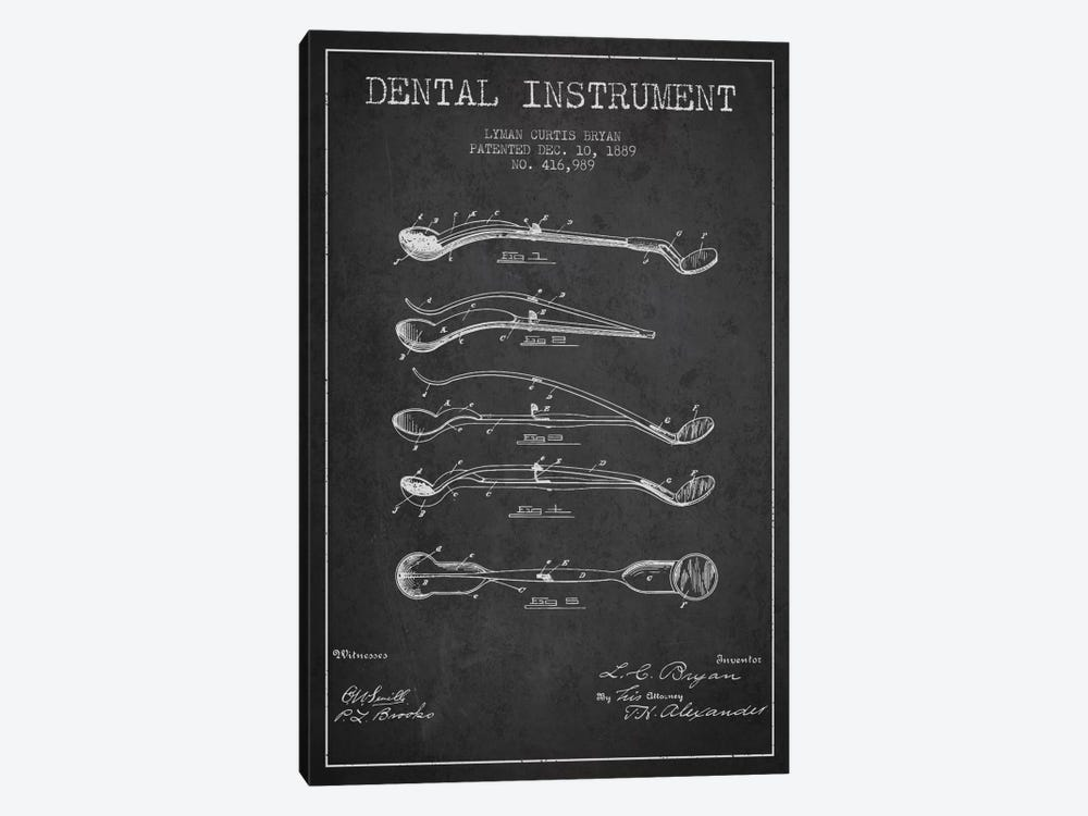 Dental Instrument Charcoal Patent Blueprint by Aged Pixel 1-piece Canvas Art