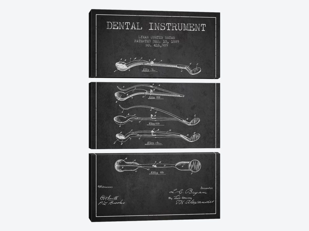 Dental Instrument Charcoal Patent Blueprint by Aged Pixel 3-piece Canvas Artwork