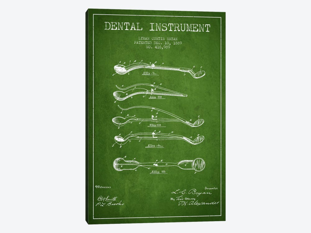 Dental Instrument Green Patent Blueprint by Aged Pixel 1-piece Canvas Art Print
