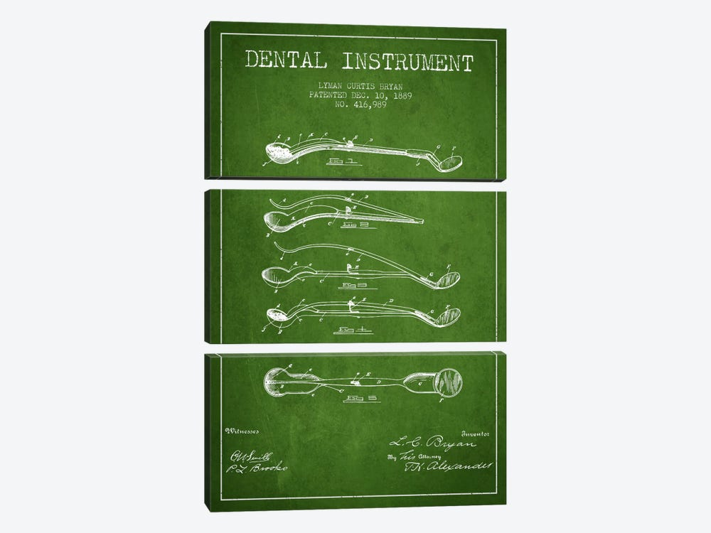 Dental Instrument Green Patent Blueprint by Aged Pixel 3-piece Canvas Art Print