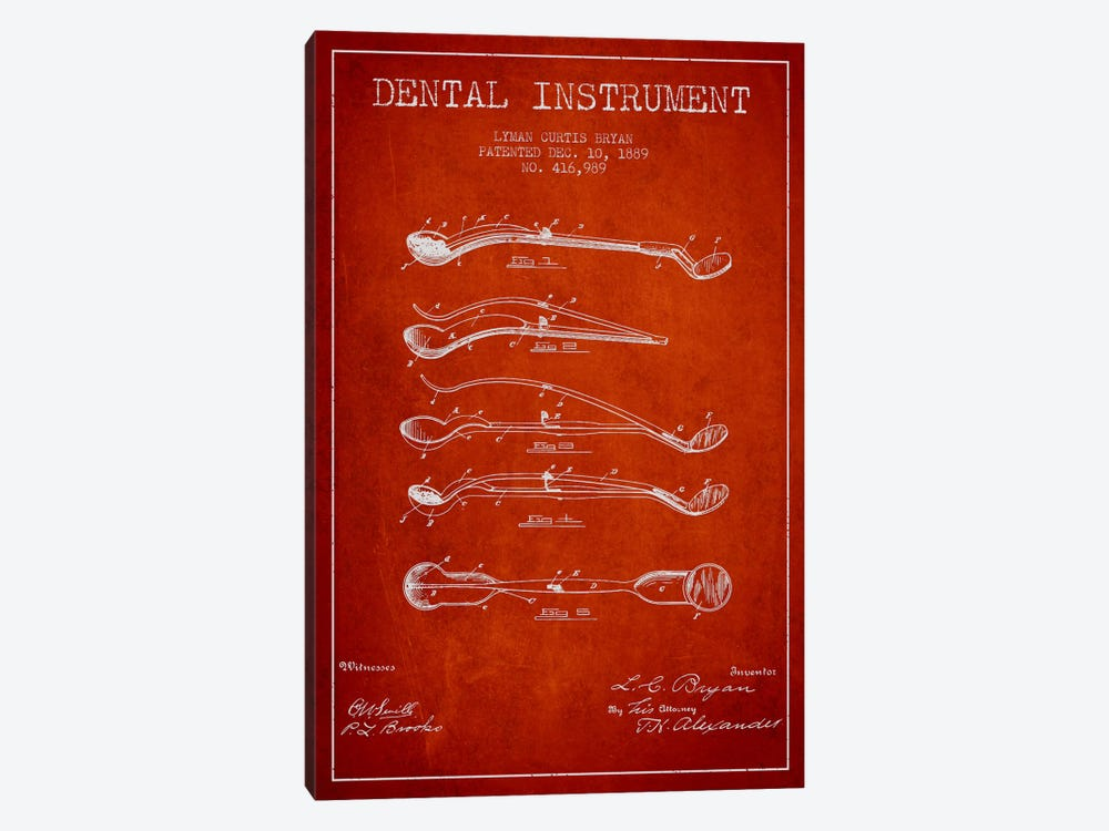 Dental Instrument Red Patent Blueprint by Aged Pixel 1-piece Canvas Print