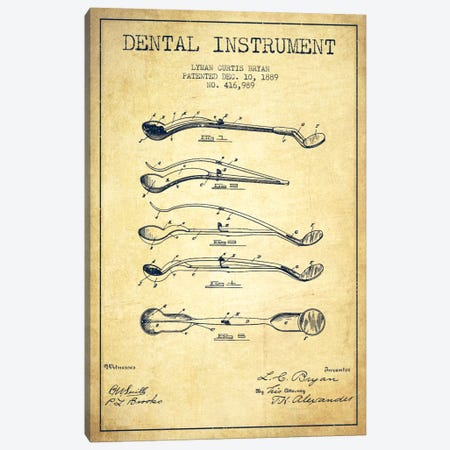 Dental Instrument Vintage Patent Blueprint Canvas Print #ADP1718} by Aged Pixel Canvas Artwork